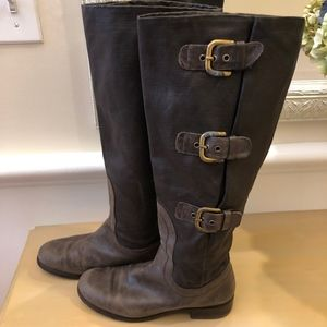 Stuart Weitzman Leather and canvas buckle boots